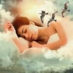 Žena upadající do říše spánku.